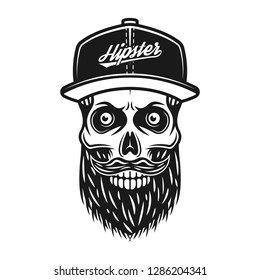 Bearded skull in baseball cap with inscription hipster vector monochrome illustration isolated on white background