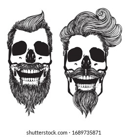 Bearded skull with hipster hairstyle for men in black and white design.