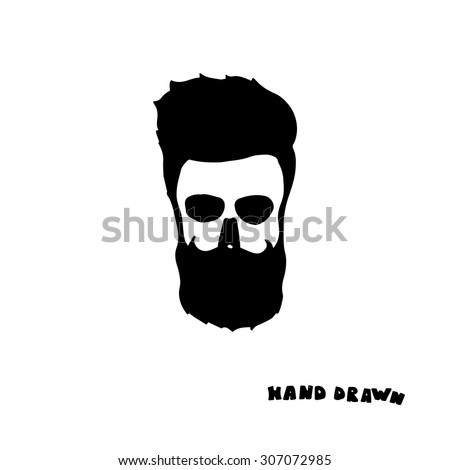 6a5a869297be Bearded skull with a mustache and fashionable haircut chop-chop. Hand  drawn. Print for t-shirts