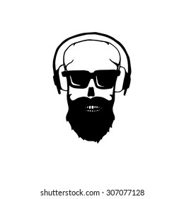 042d8a576b78 Bearded Skull Mustache Fashionable Haircut Chopchop Stock Vector ...