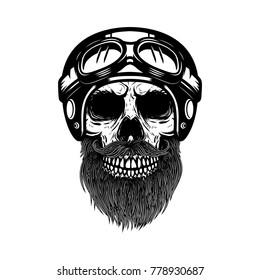 Bearded skull in racer helmet. Design element for logo, label, emblem, sign, poster, banner. Vector illustration