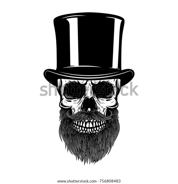 31f9a8fcfac214 Bearded skull in retro hat. Gentleman club. Design element for t shirt,  poster