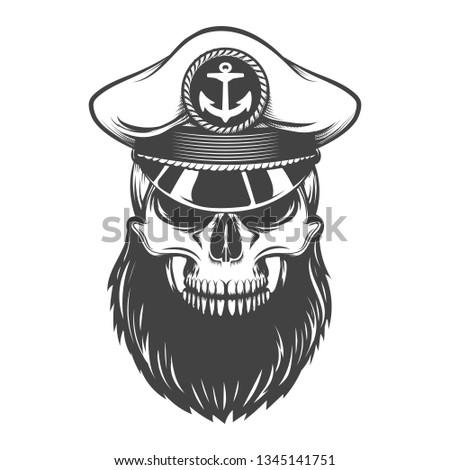6065faf0 Bearded Skull Sea Captain Hat Vector Stock Vector (Royalty Free ...
