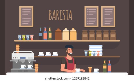 Bearded Smiling Barista in Cashier at Bar Counter Making Preparation for Visitors. Coffe Shop Interior. Small Business Owner at Workplace. Board Menu with Cappuccino, Espresso, Latte.