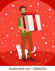 bearded smiling guy holding a huge gift box snowing