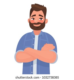 Bearded smiling man with arms crossed. Vector illustration in cartoon style