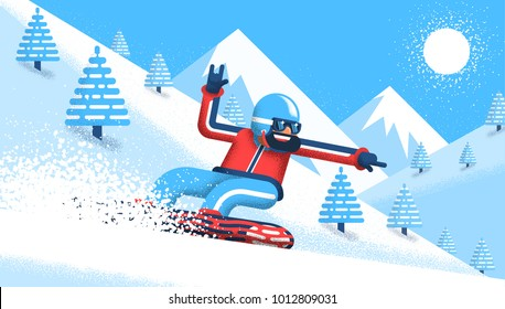 Bearded snowboarder in bright clothes rushes down the mountain. Vector illustration in a flat style with noise shadows.