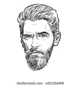 Bearded stylish man portrait. Lineart Vector. Illustration.
