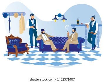 Bearded Stylish Men in Classic Suits Looking like Gentlemen and Hipsters Smoking Cigars, Drinking Alcoholic Drinks Sitting on Sofa Communicating in Club or Barbershop Cartoon Flat Vector Illustration
