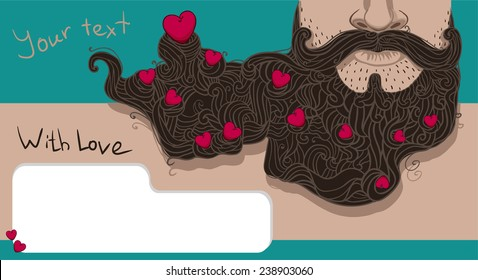 bearded Valentine Heart in the beard, card, T-shirt printing