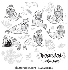 Bearded walruses set in outline. Ink vector cartoon characters of funny walruses with different haircuts, beards and tattoos. Ideal for coloring print and book