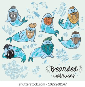 Bearded walruses set. Vector cartoon characters of funny walruses with different haircuts, beards and tattoos