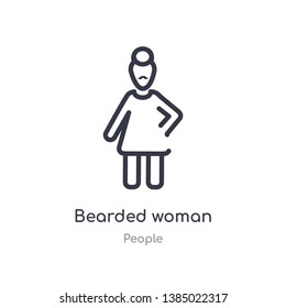 bearded woman outline icon. isolated line vector illustration from people collection. editable thin stroke bearded woman icon on white background