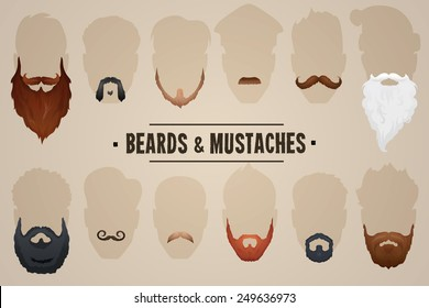 Beards and mustaches, different types. Vector Illustration
