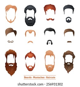 Beards and Mustaches and Hairstyles set different types of haircuts Vector Illustration.