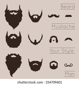 Beards and Mustaches set with flat design. Vector Illustration.