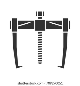 Bearing puller glyph icon. Silhouette symbol. Negative space. Vector isolated illustration