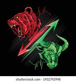 bearish and bullish in stock market science, gold, money and crypto