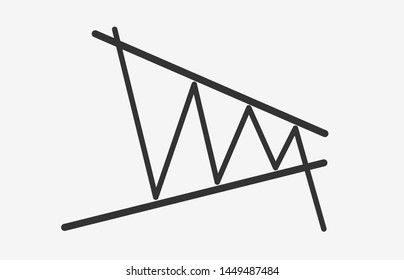 Bearish Contracting Triangle figure technical analysis. Black and white flat vector icon -  stock and cryptocurrency exchange graph, forex analytics and trading market chart breakout