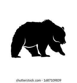 Bearish silhouette vector on a transparent background