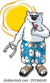Bear-N-Sun  A cartoon Bear in Board shorts enjoying the Sun. Layered vector file.