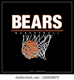 Bears Basketball, Basketball, Net, team logo, sports design, varsity, university