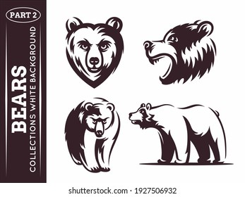 Bears collections - vector illustration on white background