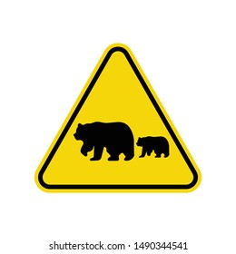 Bears Crossing Sign Isolated On White Background. Yellow Triangle Warning Symbol Simple, Flat Vector, Icon You Can Use Your Website Design, Mobile App Or Industrial Design. Vector Illustration