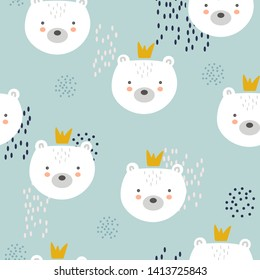 Bears with crowns, hand drawn backdrop. Colorful seamless pattern with muzzles of animals. Decorative cute wallpaper, good for printing. Overlapping colored background vector