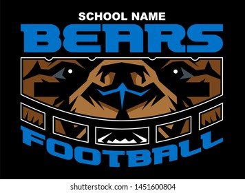bears football team design with mascot wearing facemask for school, college or league