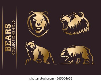 Bears gold collections - vector illustration on brown background