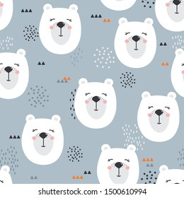 Bears, hand drawn backdrop. Colorful seamless pattern with muzzles of animals. Decorative cute wallpaper, good for printing. Overlapping colored background vector