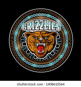 Bear's head in center of motorcycle wheel, color logo on black background