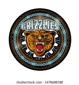 Bear's head in center of motorcycle wheel front view, color logo on white