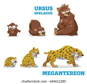 Bears and leopards. Vector illustration of pleistocene baby, young and adult wild animals bear and leopard