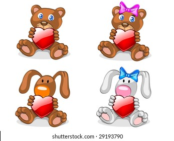 bears and rabbits with heart (editable layers)