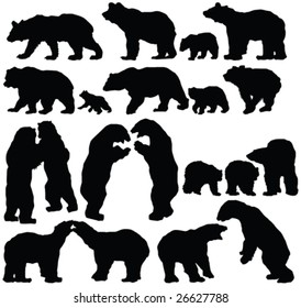 bears silhouette collection - vector
