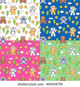 Bears smiling. Cheerful children seamless pattern with balloons, sun and clouds. The background color of your choice