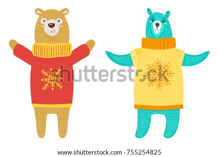 Bears Wearing Sweaters Image Snowflake On Stock Vector Royalty Free