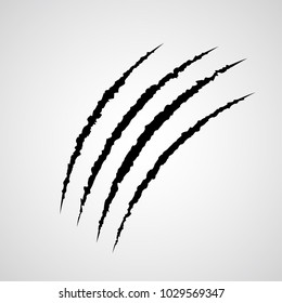Beast claws trace isolated on white vector illustration. Symbol of fear, threat and danger. Werewolf or wild animal typical mark. Predator behavior symbol.