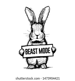 Beast mode bunny. Cool and funny t-shirt print. Hand-drawn vector rabbit.