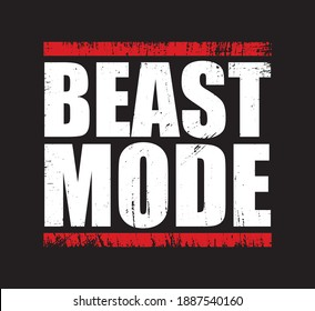 BEAST MODE Gym Fitness T-shirt Design with grunge effect. Print ready vector