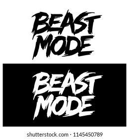 Beast mode hand drawn lettering. Typography t-shirt design. Vector illustration.
