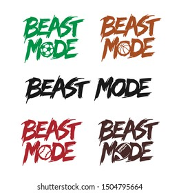 Beast mode quote lettering set. Kids clothes typography print related to different sports. American football, baseball, soccer, basketball balls. Hand drawn typographical vector illustration.