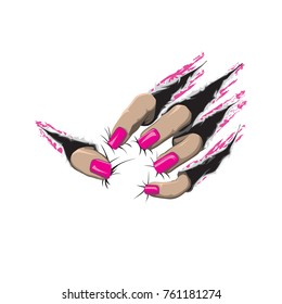 Beast scratch pink nails and fingers vector color drawing