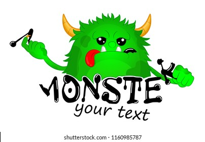 Beast took a bite of a Letter. Cute Kids Monster Vector Logo Template. Hungry cartoon hairy monster. Vector Halloween green furry monster gremlin or troll. Design for emblem, logo, print or sticker.