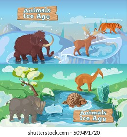 Beasts ice age horizontal banners including life of saber tooth tiger mammoth and deer isolated vector illustration
