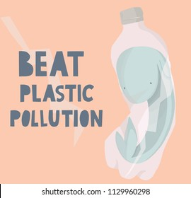 beat plastic pollution, hand drawn vector illustration - whale inside plastic bottle