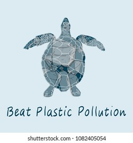 Beat plastic pollution vector illustration. World Water Day. Earth Day.
