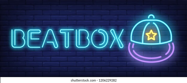Beatbox neon text with cap. Modern youth culture advertisement design. Night bright neon sign, colorful billboard, light banner. Vector illustration in neon style.